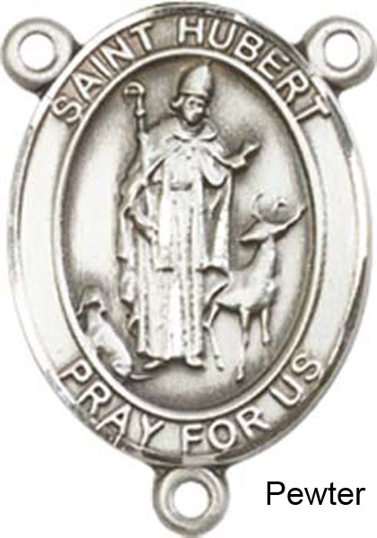 St. Hubert of Liege Rosary Centerpiece Sterling Silver or Pewter - Pewter