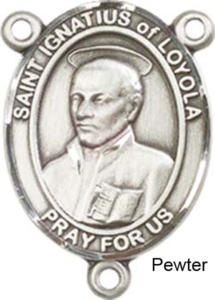 Pewter St  Ignatius of Loyola Rosary Centerpiece Sterling Silver or Pewter