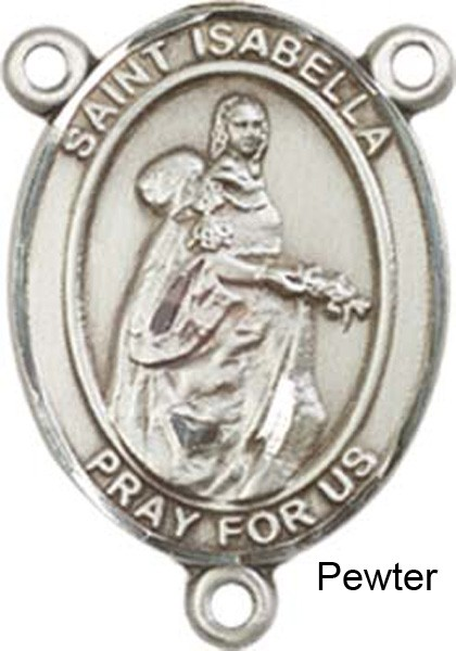 St. Isabella of Portugal Rosary Centerpiece Sterling Silver or Pewter - Pewter