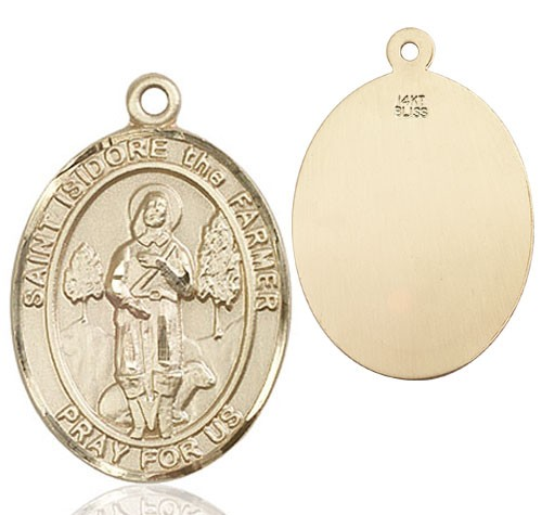 St. Isidore Medal - 14K Yellow Gold