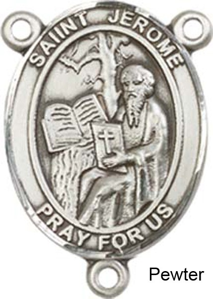 St. Jerome Rosary Centerpiece Sterling Silver or Pewter - Pewter