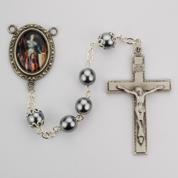 St. Joan of Arc Hematite Rosary - Gray