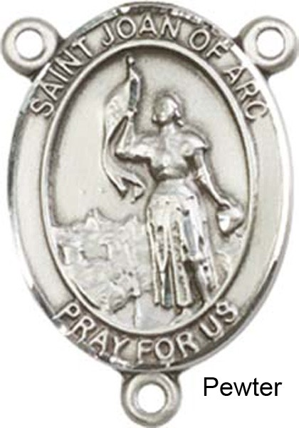St. Joan of Arc Rosary Centerpiece Sterling Silver or Pewter - Pewter