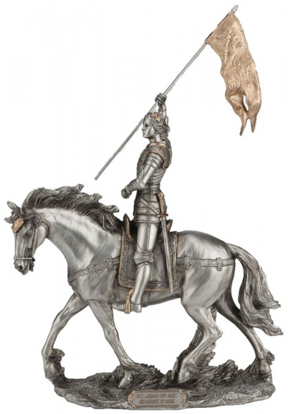 St. Joan of Arc Statue, Pewter Finish - 11 Inches - Gold | Silver