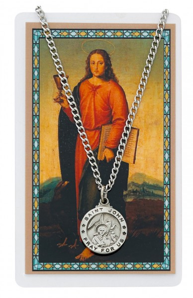 St. John the Apostle Medal and Prayer Card Set - Pewter