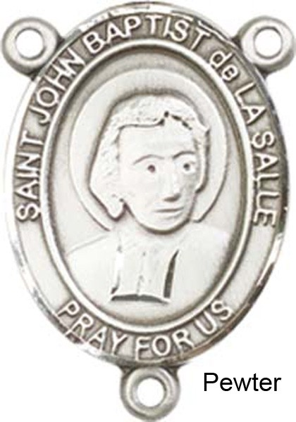St. John Baptist De La Salle Rosary Centerpiece Sterling Silver or Pewter - Pewter