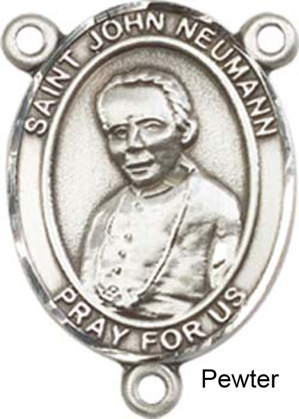 St. John Neumann Rosary Centerpiece Sterling Silver or Pewter - Pewter