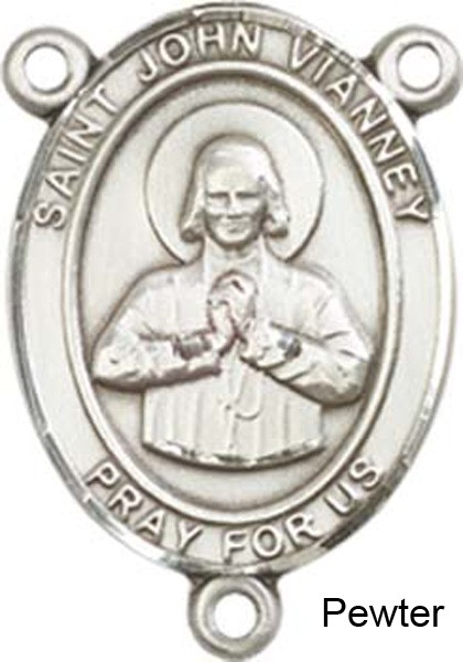 St. John Vianney Rosary Centerpiece Sterling Silver or Pewter - Pewter