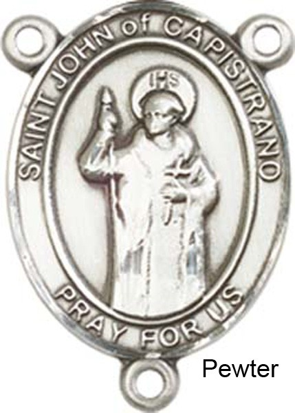 St. John of Capistrano Rosary Centerpiece Sterling Silver or Pewter - Pewter