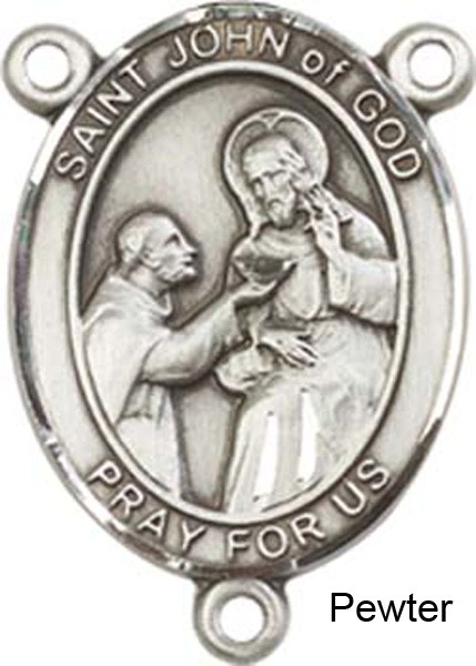 St. John of God Rosary Centerpiece Sterling Silver or Pewter - Pewter