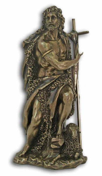 St. John the Baptist Bronzed Resin Statue - 9.5 Inches - Bronze