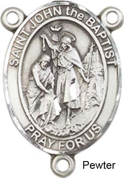 St. John the Baptist Rosary Centerpiece Sterling Silver or Pewter - Pewter