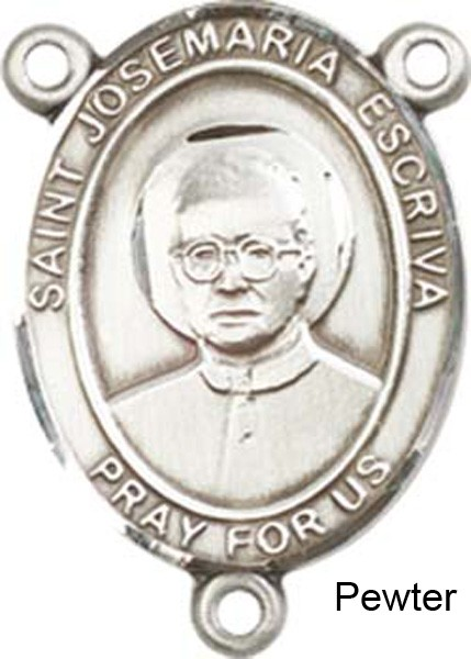 St. Josemaria Escriva Rosary Centerpiece Sterling Silver or Pewter - Pewter