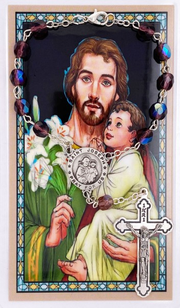 St. Joseph Auto Rosary with Prayer Card - Light Amethyst