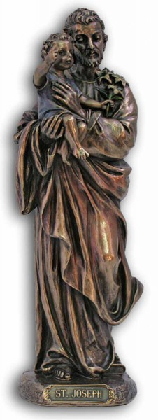 St. Joseph & Child Statue, Bronzed Resin  - 8 inches - Bronze