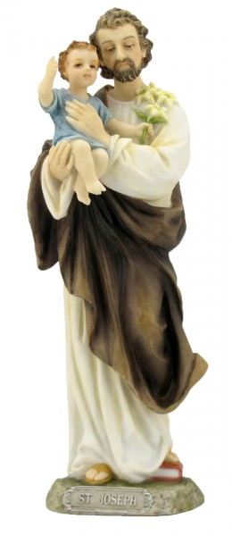 St. Joseph & Child Statue, Hand Painted - 8 inches - Full Color