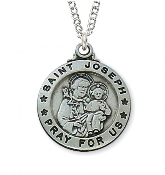 Boys Sterling Silver Saint Joseph Medal - Pewter