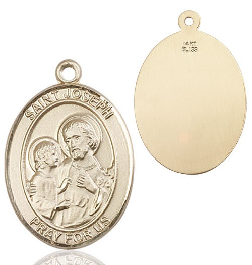 Oval Sterling Silver St. Joseph Medal - 14K Yellow Gold
