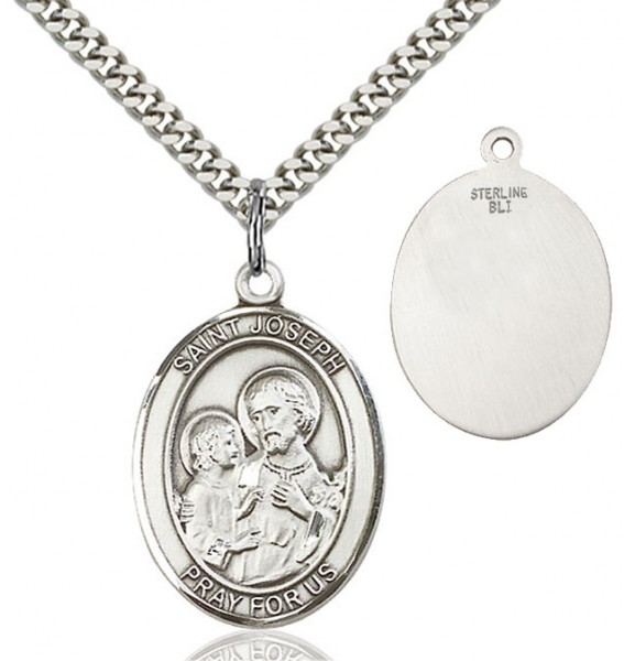 Oval Sterling Silver St. Joseph Medal - Sterling Silver
