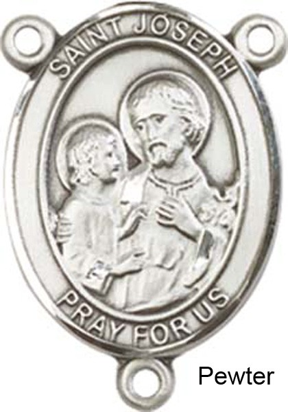 St. Joseph Rosary Centerpiece Sterling Silver or Pewter - Pewter