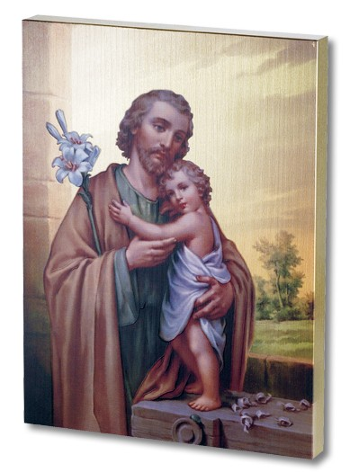 St. Joseph and Child Gold Embossed Wood Plaque - Multi-Color