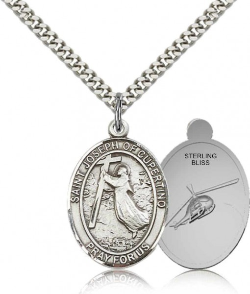 St. Joseph of Cupertino Medal with Helicopter - Pewter
