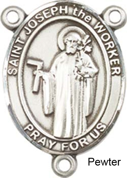 St. Joseph the Worker Rosary Centerpiece Sterling Silver or Pewter - Pewter