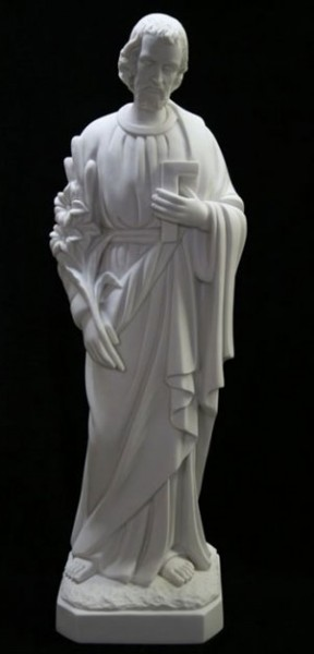 Saint Joseph the Worker Statue White Marble Composite - 33 inch - White
