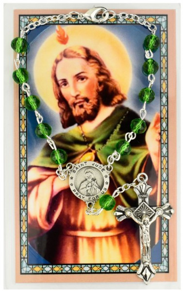 St. Jude Auto Rosary with Prayer Card - Green