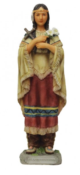 St. Kateri Tekakwitha Statue - 8 Inches - Multi-Color