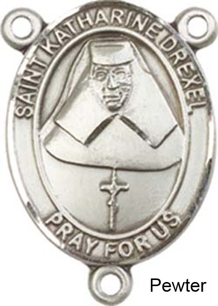 St. Katharine Drexel Rosary Centerpiece Sterling Silver or Pewter - Pewter