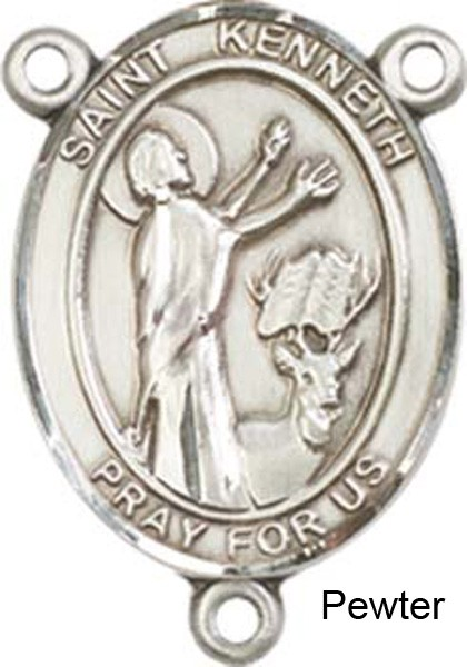 St. Kenneth Rosary Centerpiece Sterling Silver or Pewter - Pewter