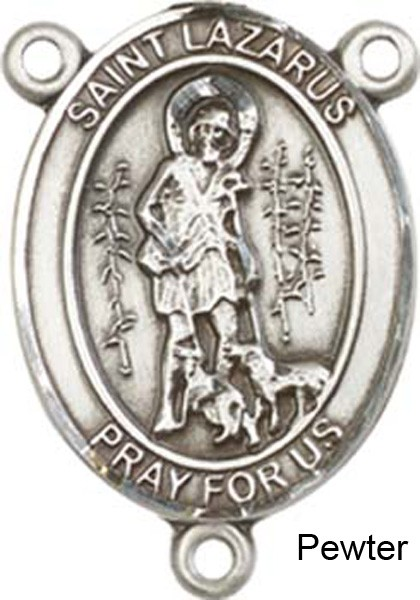 St. Lazarus Rosary Centerpiece Sterling Silver or Pewter - Pewter