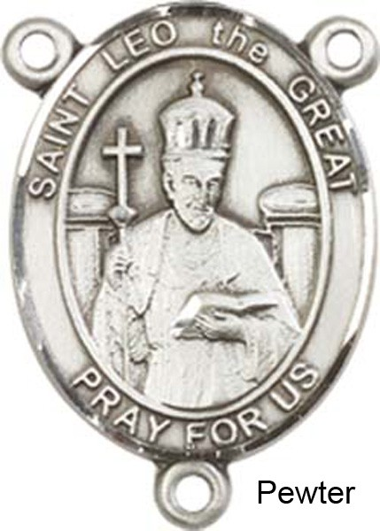 St. Leo the Great Rosary Centerpiece Sterling Silver or Pewter - Pewter