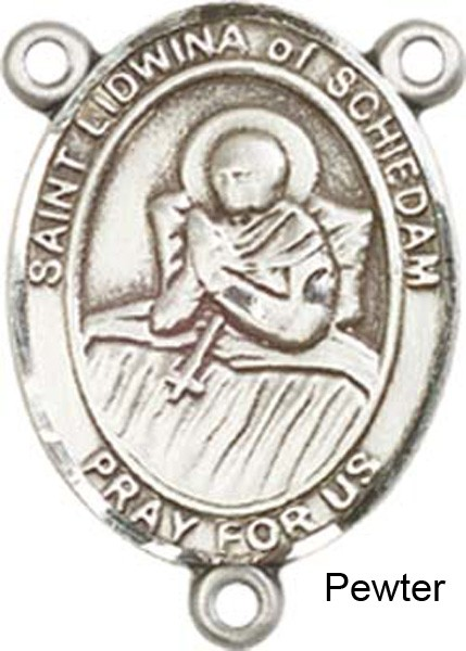 St. Lidwina of Schiedam Rosary Centerpiece Sterling Silver or Pewter - Pewter