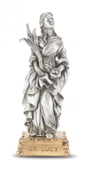 Saint Lucy Pewter Statue 4 Inch - Pewter
