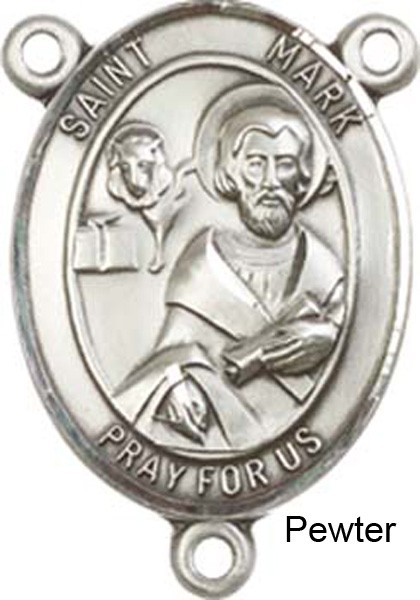 St. Mark the Evangelist Rosary Centerpiece Sterling Silver or Pewter - Pewter