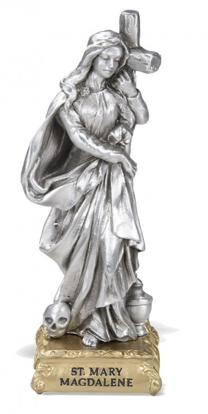 St. Mary Magdalane Pewter Statue 4 Inch - Pewter