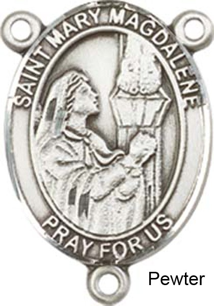 St. Mary Magdalene Rosary Centerpiece Sterling Silver or Pewter - Pewter