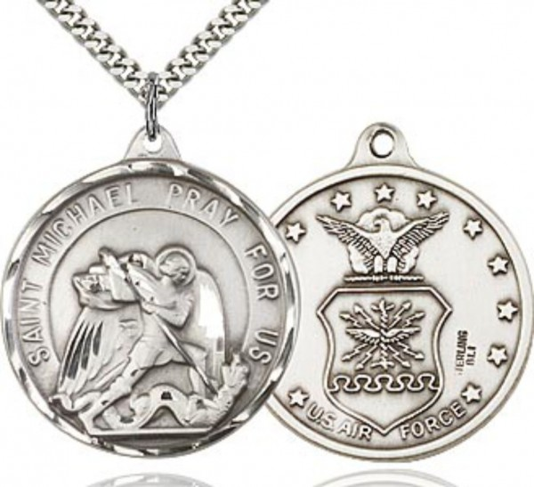 St. Michael Air Force Medal Round - Sterling Silver