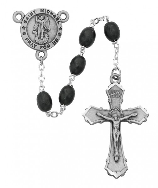 St. Michael Black Bead Rosary - Black