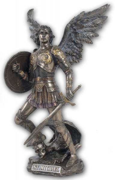 St. Michael Bronzed Resin Statue - 12.5 Inches - Bronze