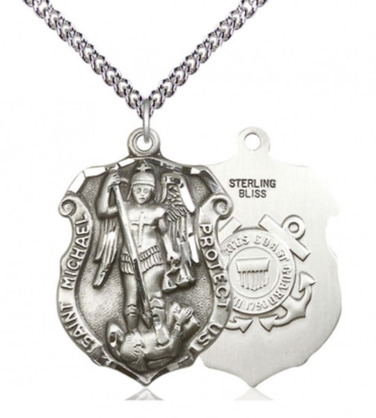 St. Michael Coast Guard Medal Shield - Sterling Silver