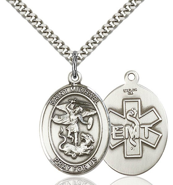 medal sterling st silver on engraved round michael necklace yhst chain