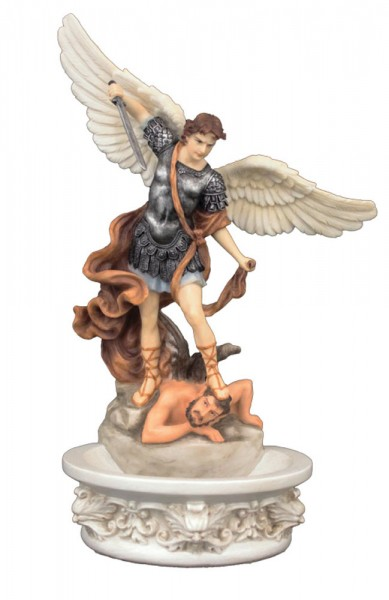 St. Michael Hand Painted Water Font - 8 inch - Full Color