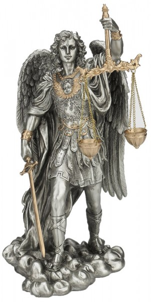 Incroyable St. Michael Justice Statue, Pewter Tone, 11 Inches   Pewter