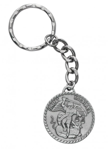 St. Michael Key Ring - Silver