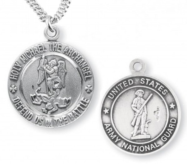 St. Michael National Guard Medal Sterling Silver - Sterling Silver