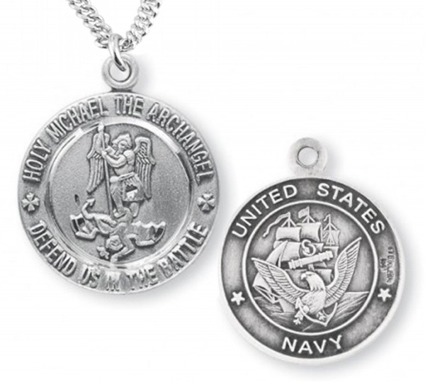 St. Michael Navy Medal Sterling Silver - Silver