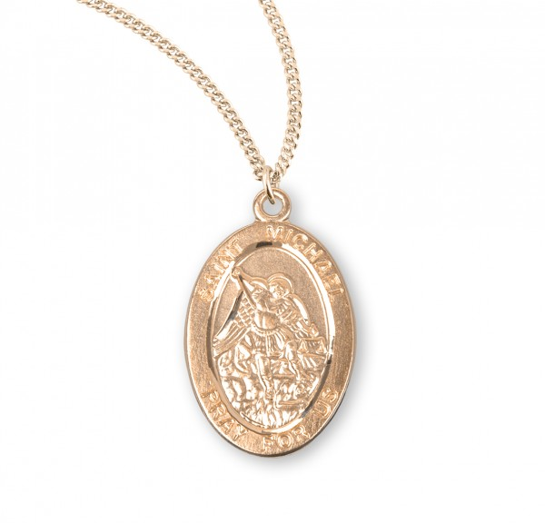 St. Michael Oval 16KT Gold Medal - Gold Plated